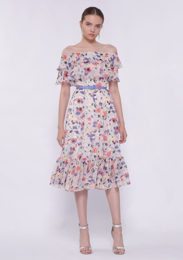 Коктейльное платье разноцветное BI2197