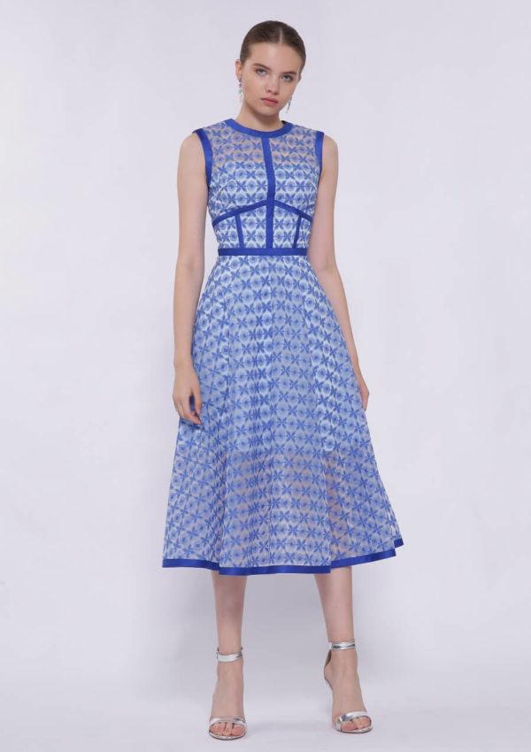 Голубое коктейльное платье миди BN2170