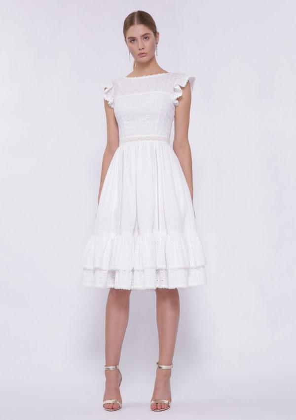 Коктейльное платье белое BN2202