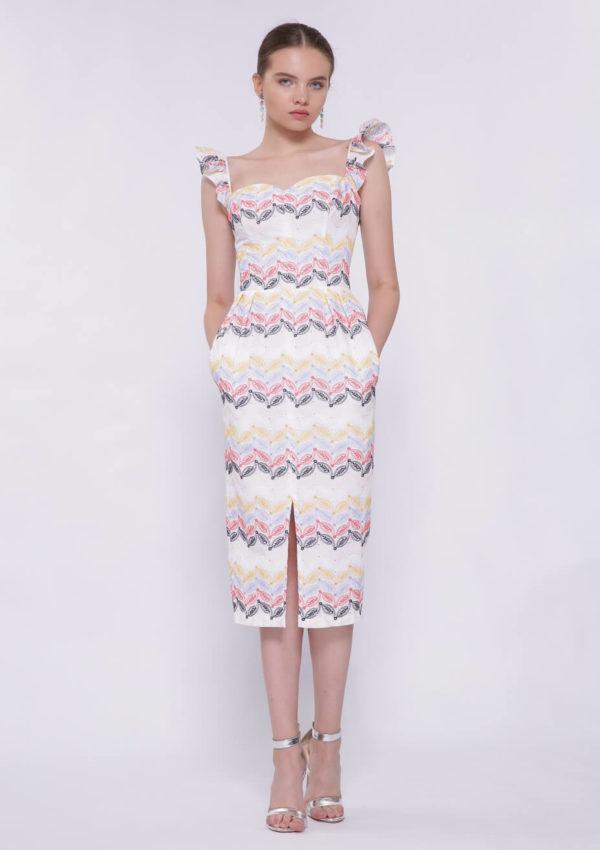 Коктейльное платье на брителях миди BN2204