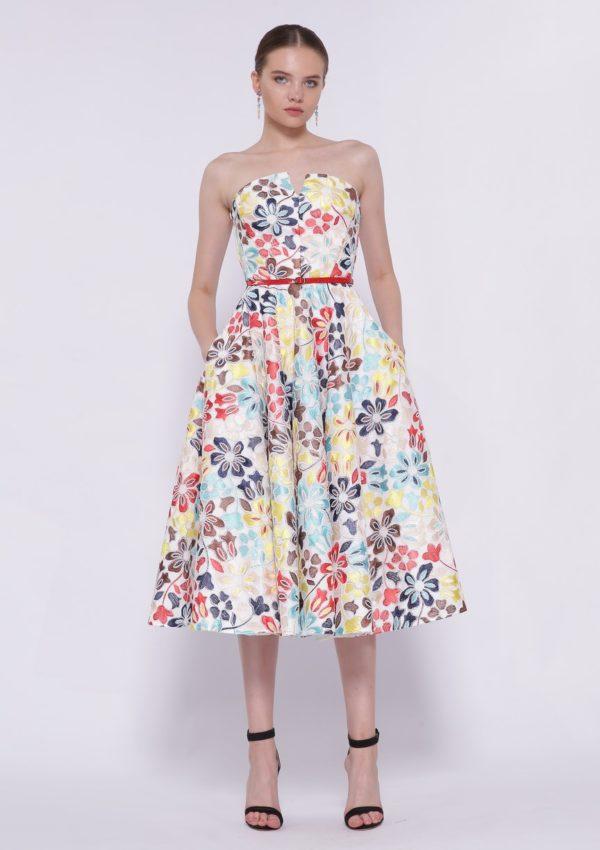 Разноцветное коктейльное платье миди BB2219