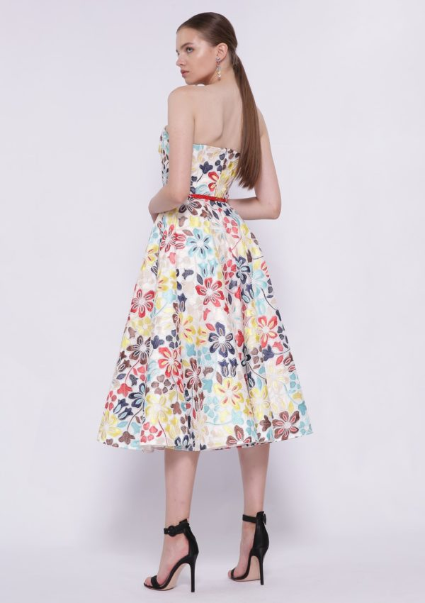 Разноцветное коктейльное платье BB2219