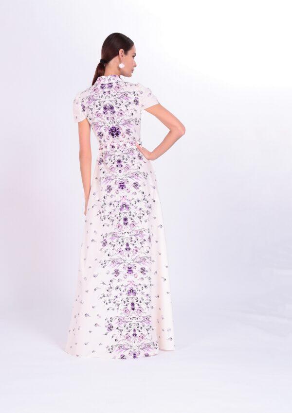 фото вечернее платье в пол с фиолетовыми цветами